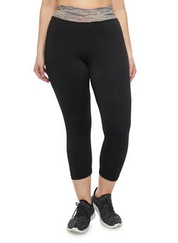 Plus Size Capri Activewear Leggings with Space Dye Waist - 1951062700830