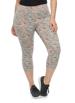 Plus Size Space Dye Activewear Capri Leggings - 1951062700831