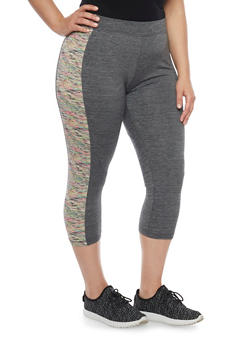 Plus Size Color Block Capri Activewear Leggings with Space Dye Trim - 1951062700855