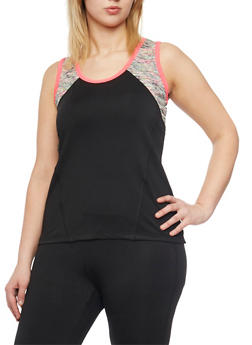 Plus Size Activewear Tank Top with Space Dye Trim - 1951062702830