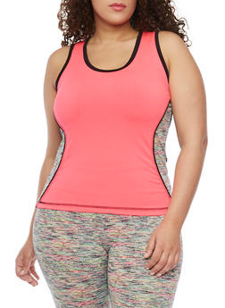 Plus Size Activewear Tank Top with Space Dye Trim - 1951062702831