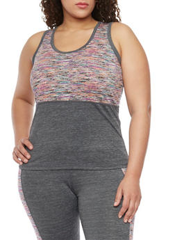 Plus Size Space Dye Colorblock Activewear Tank Top - 1951062702855
