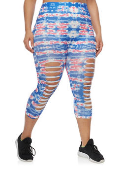 Plus Size Tie Dye Laser Cut Capri Leggings - 1951062906185