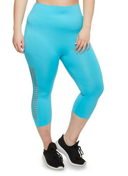 Plus Size Laser Cut Capri Leggings - 1951062906221