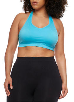 Plus Size Activewear Sports Bra with Lasercut Back - 1951062906231