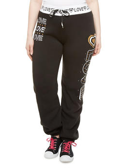 Plus Size Love Studded Joggers - 1951063400154