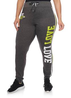 Plus Size Love Graphic Athletic Joggers - 1951063400612