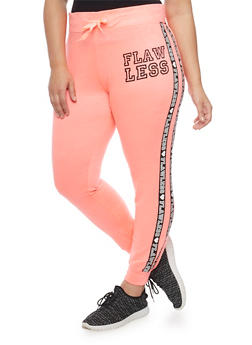 Plus Size Flawless Graphic Varsity Joggers - 1951063400614