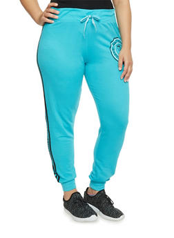 Plus Size Flawless Love Graphic Joggers - AQUA - 1951063400617