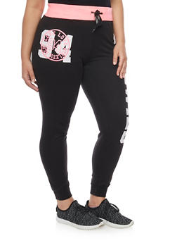 Plus Size Drawstring Joggers with Love Graphic - 1951063400618