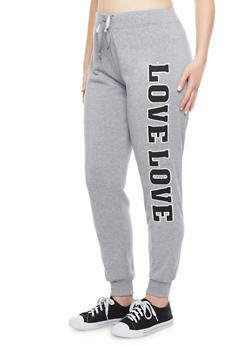 Plus Size Joggers With 94 Love Graphic,HEATHER,medium