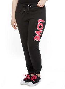 Plus Size Fleece-Lined Joggers with Love Patch,BLACK,medium