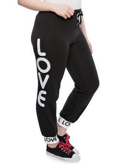 Plus Size Love Patch Joggers - 1951063401586