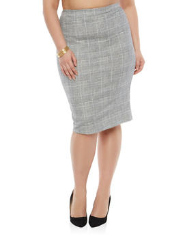 Plus Size Plaid Pencil Skirt - 1951063401704