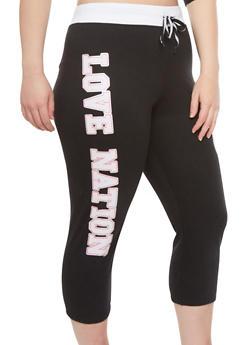 Plus Size Capri Jogging Pants with Love Nation Graphic - 1951063402178