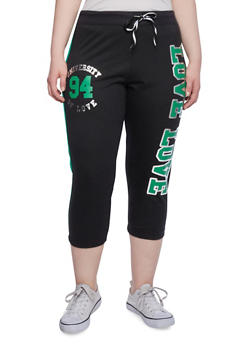 Plus Size Capri Jogging Pants with Love Graphic - 1951063402185