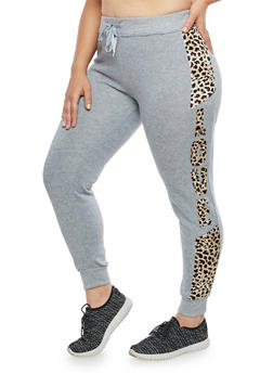 Plus Size Leopard Love Graphic Sweatpants - 1951063402508