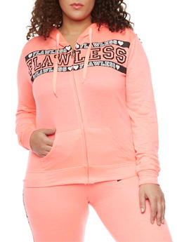 Plus Size Flawless Graphic Zip Front  Drawstring Hoodie - 1951063402614