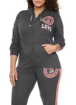 Plus Size Flawless Love Graphic Zip Up Hoodie - 1951063402617