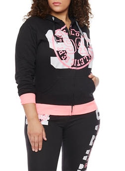 Plus Size Graphic Muscle Hoodie - 1951063402618
