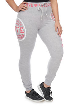 Plus Size Drawstring Graphic Love Joggers - 1951063403702