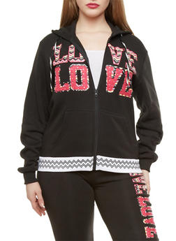 Plus Size Love Graphic Chevron Hoodie - 1951063404541