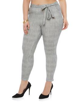 Plus Size Plaid Belted Dress Pants - 1951063404687