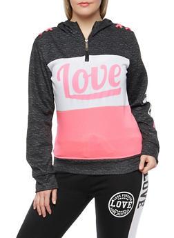 Plus Size Love Lace Up Shoulder Hooded Sweatshirt - 1951063404815