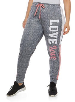 Plus Size Love Graphic Marled Sweatpants - 1951063404816