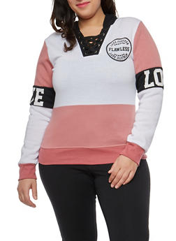 Plus Size Color Block Lace Up Graphic Hooded Sweatshirt - 1951063405032