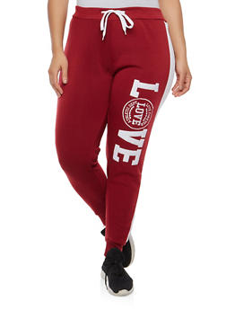 Plus Size Love Embroidered Sweatpants - 1951063405090