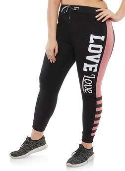 Plus Size Love Graphic Sweatpants - 1951063405094