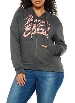 Plus Size Boujee Girl Zip Up Sweatshirt - 195106340663A