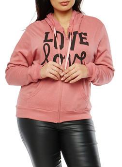Plus Size Love Zip Up Sweatshirt - 195106340663c