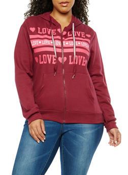 Plus Size Graphic Print Zip Up Sweatshirt - 1951063406632