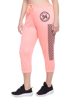 Plus Size Graphic Capri Joggers - 1951063407073