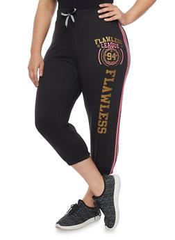 Plus Size Flawless League 94 Graphic Capri Joggers - 1951063407106