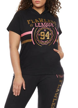 Plus Size Flawless Graphic Short Sleeve Varsity Hoodie - 1951063407156