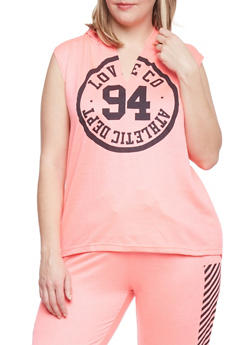 Plus Size Graphic Sleeveless Hoodie - 1951063407173