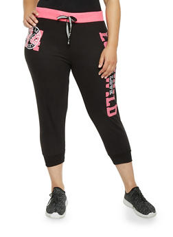 Plus Size Capri Joggers with Love Wild Graphic - 1951063407190