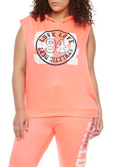 Plus Size Sleeveless Love 94 Graphic Hoodie - 1951063407197