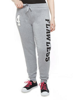"""Plus Size Fleece-Lined Varsity Joggers with """"Flawless 94"""" Patch,HEATHER,medium"""