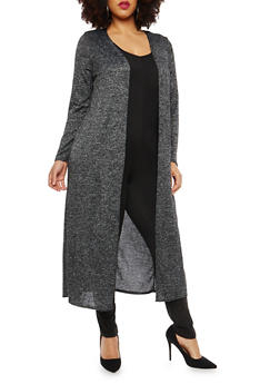 Plus Size Soft Knit Open Front Duster - 1951072240026