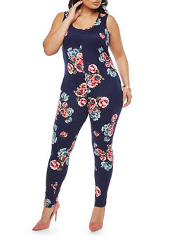 Plus Size Soft Knit Floral Print Catsuit - 1951072240056