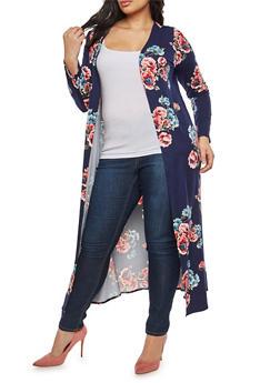 Plus Size Floral Soft Knit Duster - 1951072240059