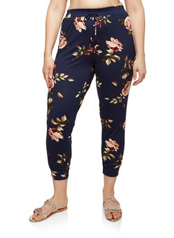 Plus Size Floral Soft Knit Joggers - 1951072240476