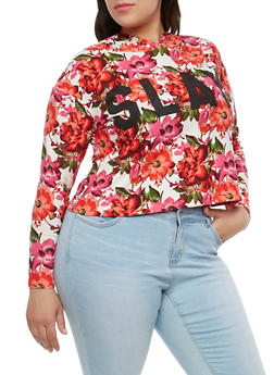 Plus Size Floral Slay Graphic Hooded Top - 1951072240611