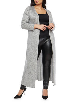 Plus Size Marled Open Front Duster - 1951072240626