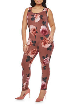 Plus Size Soft Knit Floral Print Catsuit - 1951072245625
