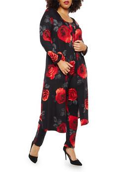 Plus Size Soft Knit Floral Print Duster - 1951072245626